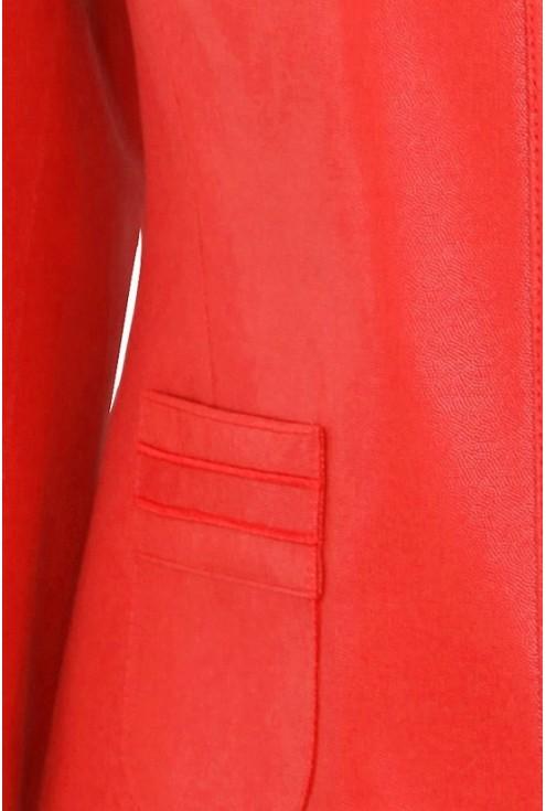 Czerwony damski żakiet z eco skóry KIRA