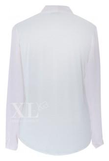 Biała bluzka wizytowa na duży biust z długim rękawem MAYA