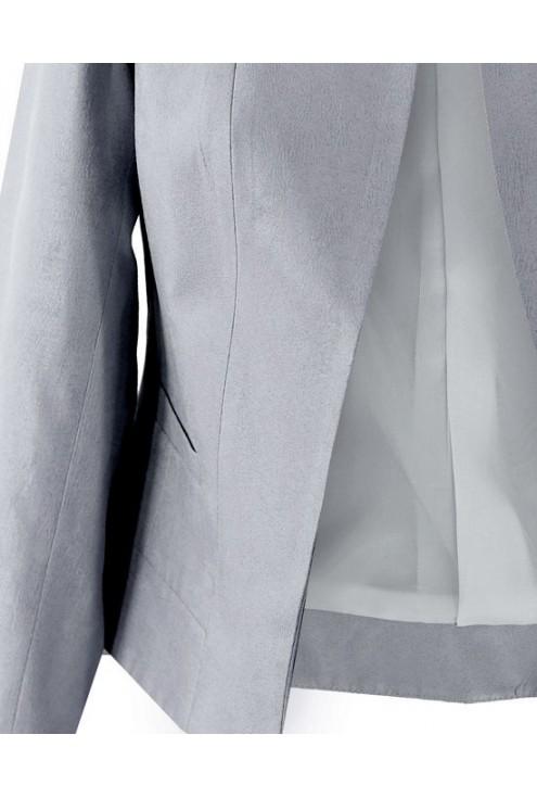 Srebrny krótki żakiet na stójce SANDRA