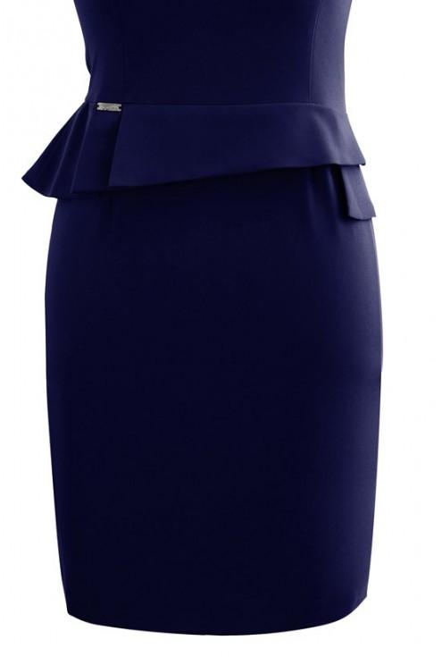 Granatowa sukienka z baskinką