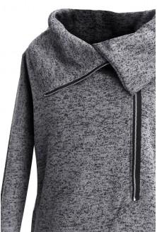 Grafitowy płaszczyk sweter z kołnierzem DORIS