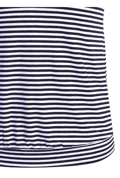 Bluzka w paski z koronkowym dekoltem (biało-czarna)