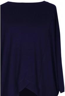 Granatowa tunika asymetryczna LORI - długi rękaw