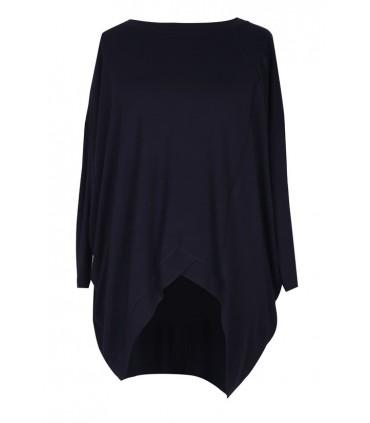 Czarna tunika asymetryczna LORI - długi rękaw