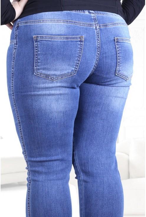 Jasne spodnie jeansowe na gumkę JUSTINE