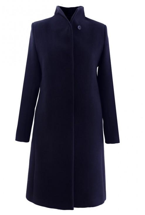 Czarny płaszcz flauszowy na stójce CARLA