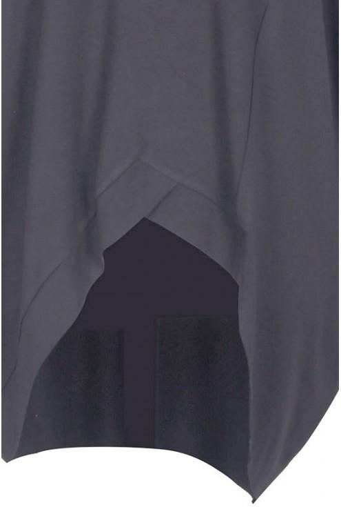 Grafitowa tunika asymetryczna Lori - długi rękaw