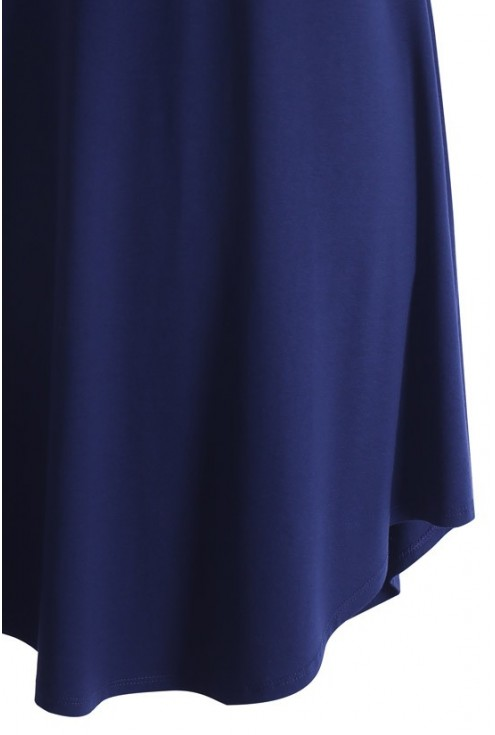 Granatowa rozkloszowana sukienka z dzianiny NINA