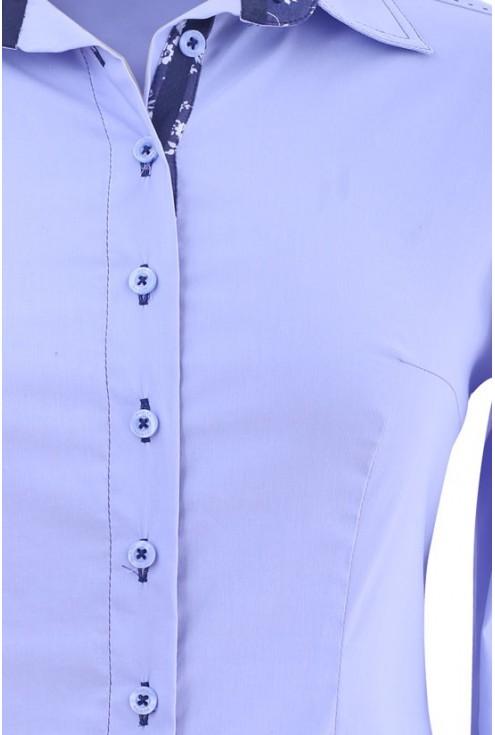 Jasnoniebieska koszula wizytowa z granatowym kołnierzykiem LISA