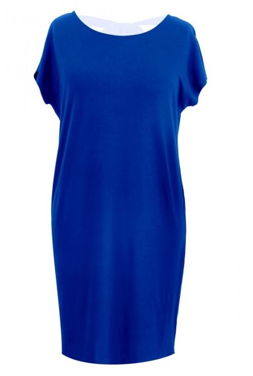 Prosta kobaltowa sukienka z kokardą IZABELA