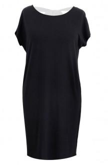 Prosta czarna sukienka z kokardą IZABELA