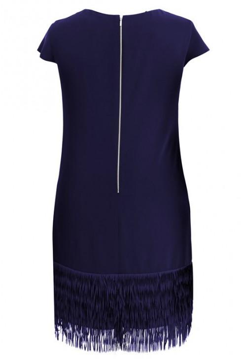 Granatowa sukienka z frędzlami SAMANTA