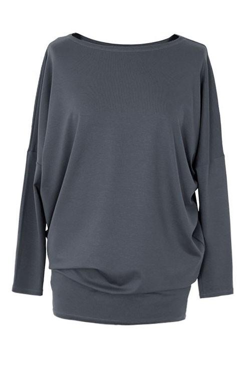 Bluzka tunika z wiskozy grafitowa BASIC