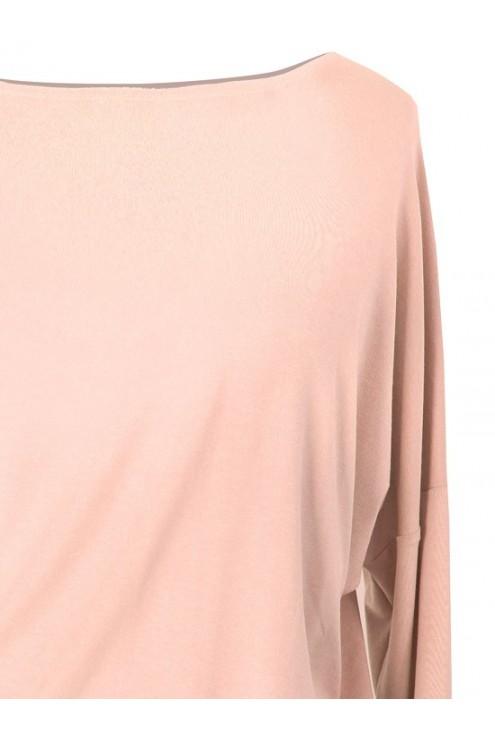 Bluzka tunika z wiskozy pudrowy-róż BASIC