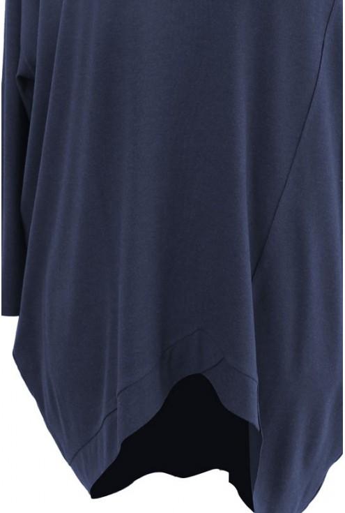 Granatowa tunika asymetryczna LORI 2 (cieplejszy materiał)