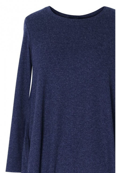 Granatowa sukienka / tunika z długim rękawem LUCY