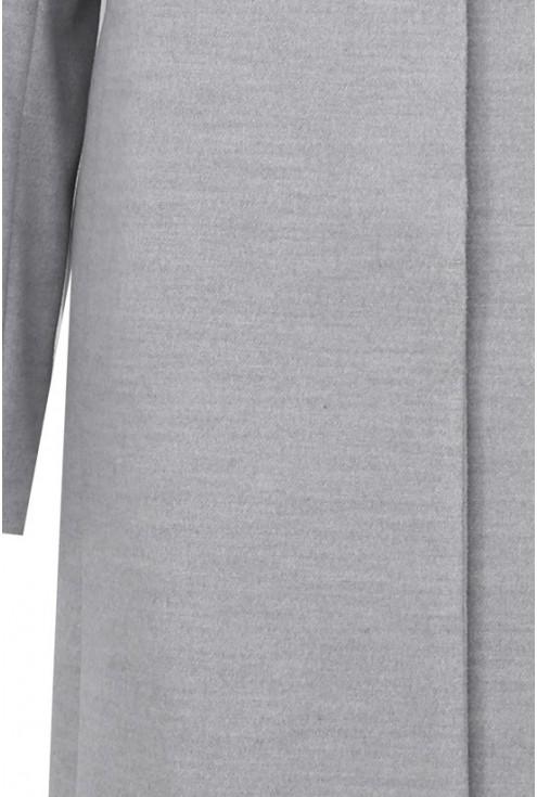 Jasnoszary płaszcz flauszowy na stójce CARLA