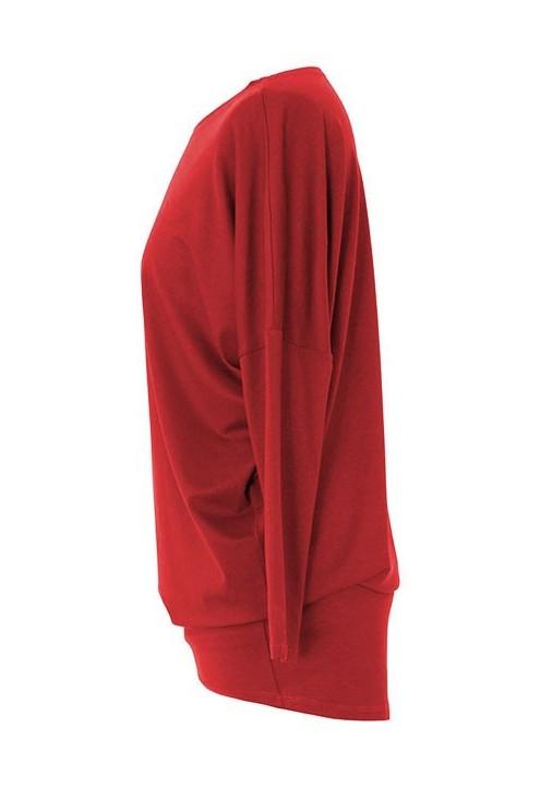 Bluzka tunika z wiskozy czerwona BASIC