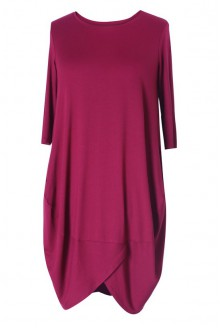 Wiśniowo-bordowa sukienka z wiskozy LUCY