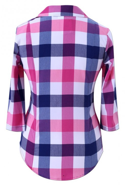 Koszula w kratę różowo-granatowa ANGELICA
