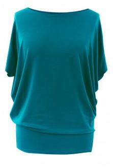 Bluzka z wiskozy krótki rękaw BASIC - ciemny turkus