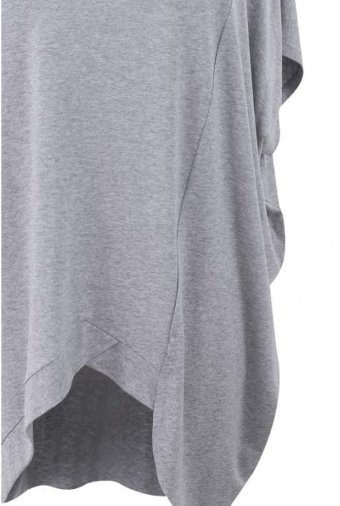 Tunika z krótkim rękawem LORI jasnoszary (melanż)