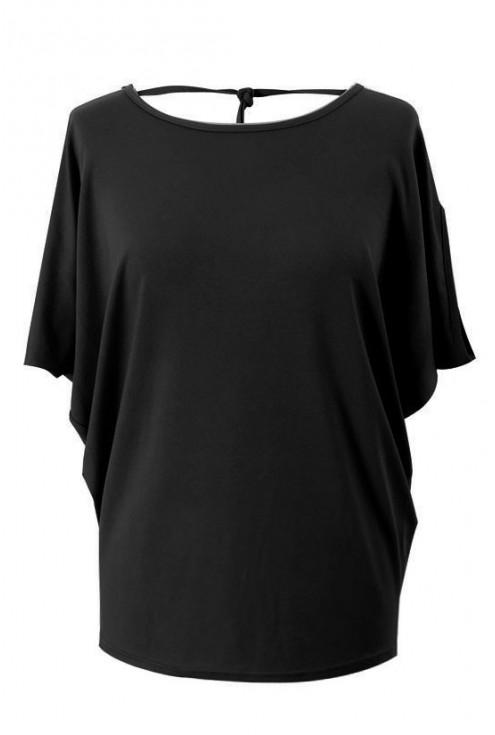 Czarna dzianinowa bluzka z krótkim rękawem - DORA