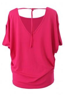 Różowa dzianinowa bluzka z krótkim rękawem - DORA