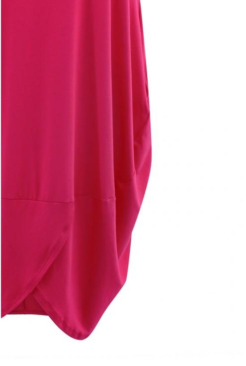 Jasno malinowa sukienka z krótkim rękawem LUCY