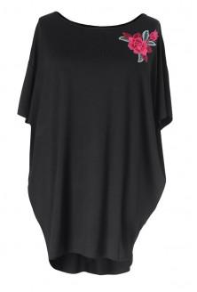 Czarna tunika z haftowaną różą LETTI