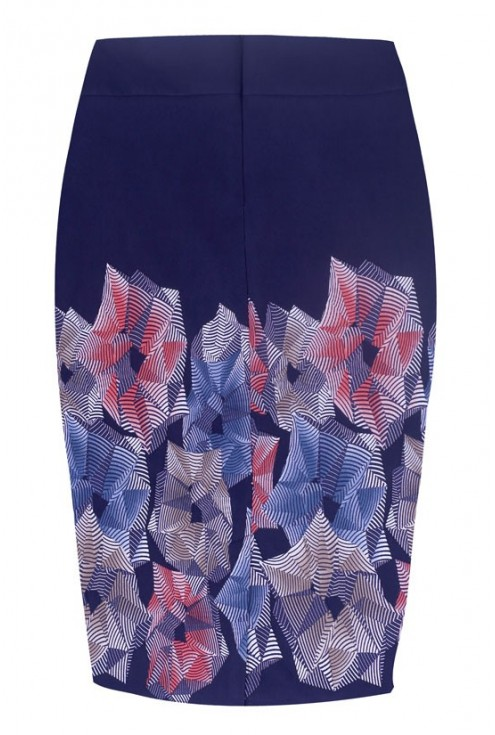 Granatowa ołówkowa spódniczka z kolorowym wzorem - IVY