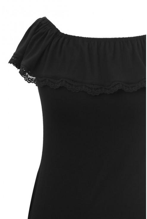 Czarna dzianinowa bluzka hiszpanka - LEILA