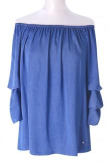 Bluzka w kolorze jeansowym z szerokimi rękawami CISSY