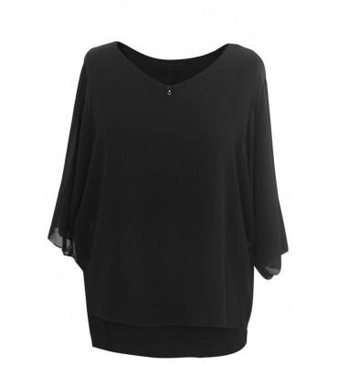 Czarna wizytowa szyfonowa bluzka - IRA