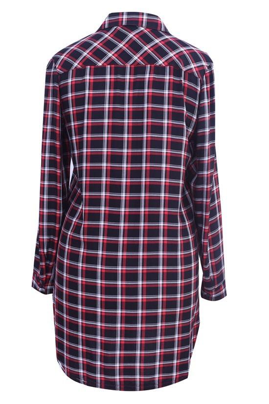 Długa koszula tunika w drobną czarno czerwoną kratę XL ka
