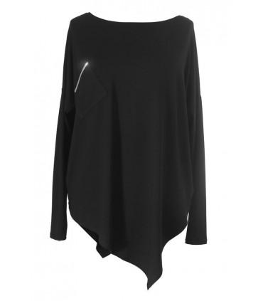 Asymetryczna czarna bluzka ze srebrnym paskiem BETSY