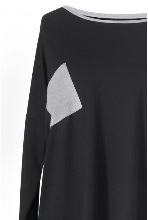 Asymetryczna czarna bluzka z szarą kieszonką DOREEN
