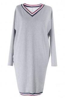 Jasnoszara (melanż) sukienka z kolorową tasiemką YNES