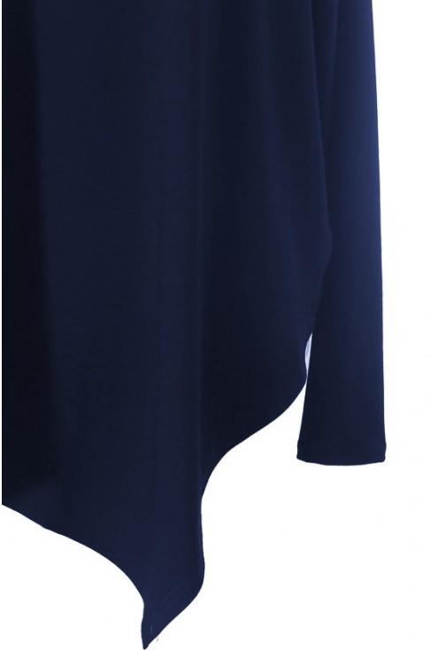 Asymetryczna GRANATOWA bluzka ze srebrnym paskiem BETSY