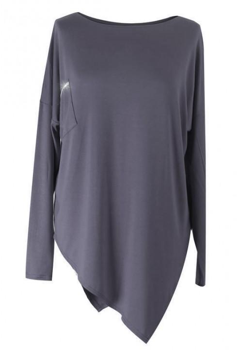 Asymetryczna GRAFITOWA bluzka ze srebrnym paskiem BETSY