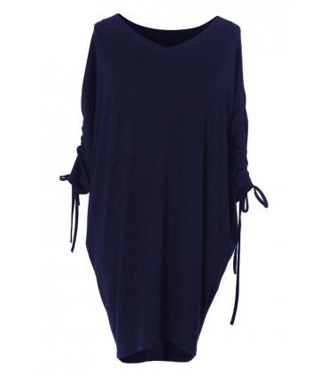 Luźna sukienka ze ściąganym rękawem - ESME - CIEMNY GRANAT