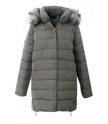 Pikowana kurtka w dużych rozmiarach ALISON - KHAKI