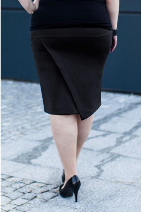 Czarna dzianinowa spódnica z zakładką z tyłu PEGGY