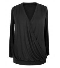 Czarna bluzka podkreślająca dekolt - ANITA