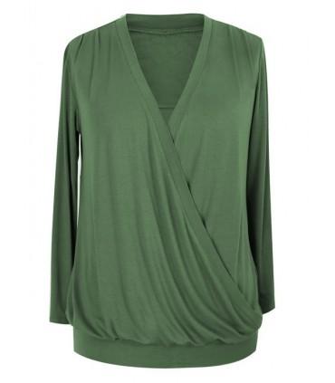 Bluzka podkreślająca dekolt - ANITA kolor KHAKI