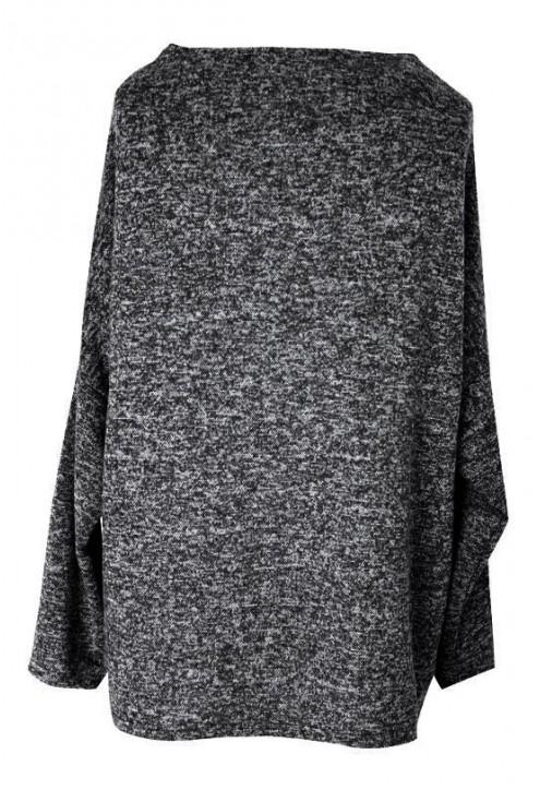 Luźny ciemnoszary sweterek z serduszkiem - CLARISSA