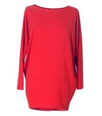 CZERWONA bluzka tunika BASIC (ciepły materiał)