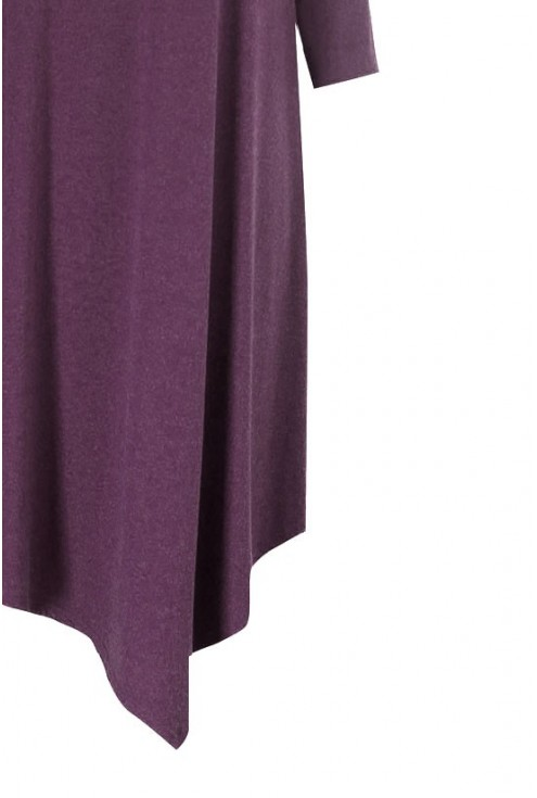 Śliwkowa ciepła asymetryczna sukienka / tunika ANGELA