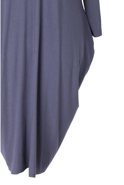 Grafitowa sukienka CYNTIA z długim rękawem