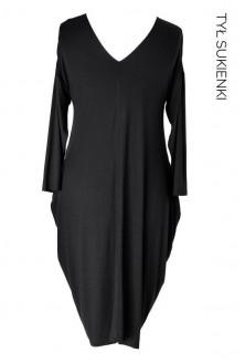 Czarna sukienka CYNTIA z długim rękawem